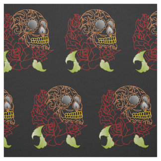 Unique fabric Retro yellow sugar skull rockabilly