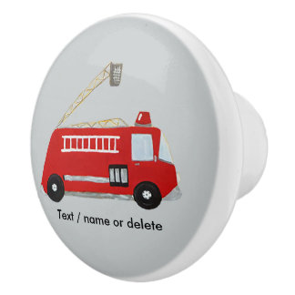 Unique fire truck ceramic knob