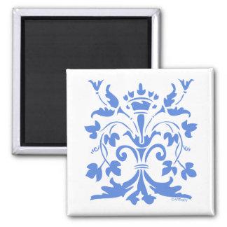 Unique Fleur de lis Queen (blue) Square Magnet