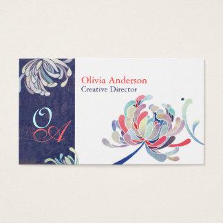 Unique Floral Monograms Business Cards