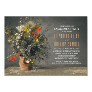 Unique Flower Vase Rustic Engagement Party Card
