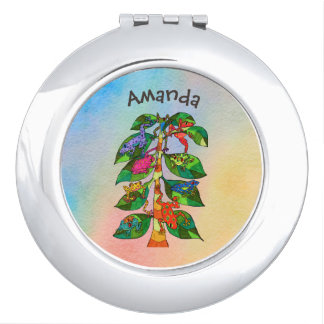 Unique Frog Tree of Life Watercolor Personalized Travel Mirror