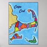 Unique Fun and Colourful Cape Cod Map Poster