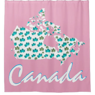 Unique fun Canadian  Canada shower curtain pink