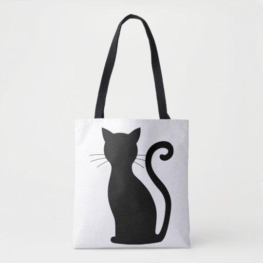 Unique Fun Cute Sleek Black Cat Tote Bag For Her