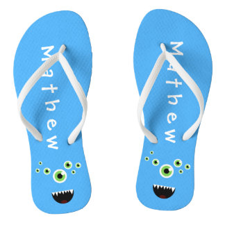 Unique Funny Crazy Cute Blue Monster Flip Flops