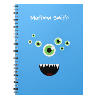 Unique Funny Crazy Cute Blue Monster Notebook