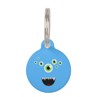 Unique Funny Crazy Cute Blue Monster Pet Tag