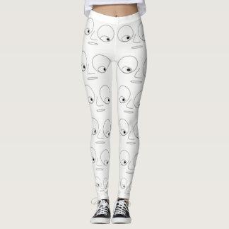 Unique Funny Face Pattern White Leggings