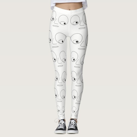 Unique Funny Face Pattern White Leggings