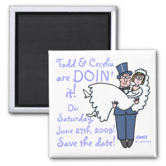 Unique Funny Groom Carries Bride Save The Date Magnet