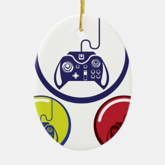 Unique Game Controller Icon Vector Art Ceramic Ornament