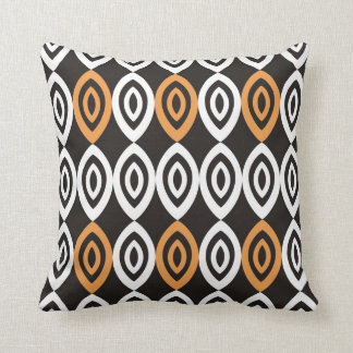 Unique Geometric Pillows - Orange Black And White