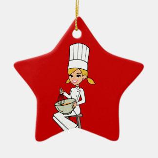 Unique Girl Chef Illustration Ceramic Star Ornament