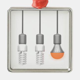 Unique glowing LED light Silver-Colored Square Ornament