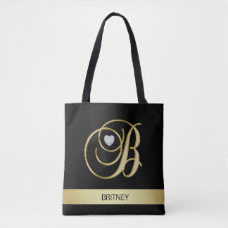 Unique Gold Black Monogrammed Letter Initials B Tote Bag