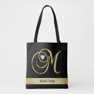 Unique Gold Black Monogrammed Letter Initials M Tote Bag