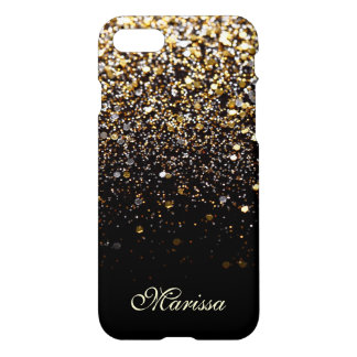 Unique Gold Glitter Black Stylish Modern iPhone 7 Case