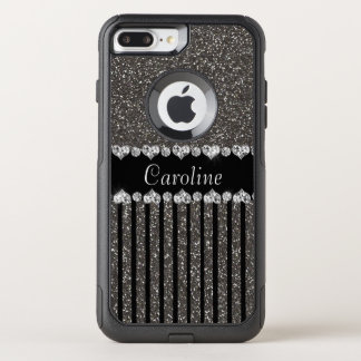 Unique Gray Glitter With Name OtterBox Commuter iPhone 8 Plus/7 Plus Case