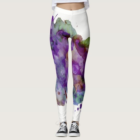 Unique Green & Purple Watercolor Paint Splatter Leggings