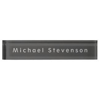 Unique Grey Elegant Modern Desk Nameplate