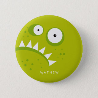 Unique Grumpy Angry Funny Scary Green Monster 2 Inch Round Button