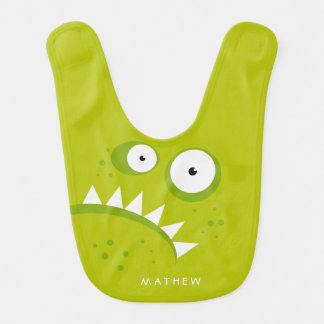 Unique Grumpy Angry Funny Scary Green Monster Bib