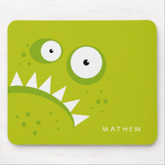 Unique Grumpy Angry Funny Scary Green Monster Mouse Pad