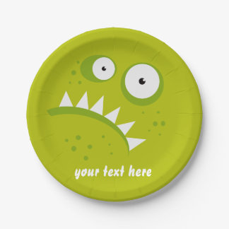 Unique Grumpy Angry Funny Scary Green Monster Paper Plate
