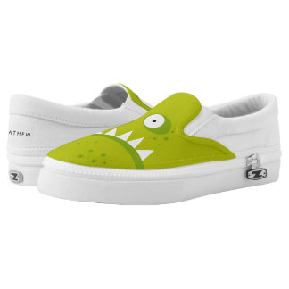 Unique Grumpy Angry Funny Scary Green Monster Slip-On Sneakers