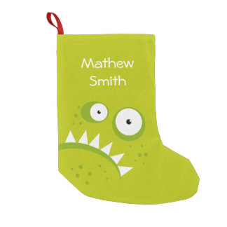 Unique Grumpy Angry Funny Scary Green Monster Small Christmas Stocking