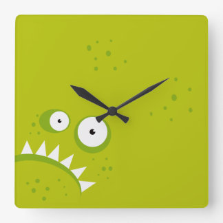 Unique Grumpy Angry Funny Scary Green Monster Square Wall Clock