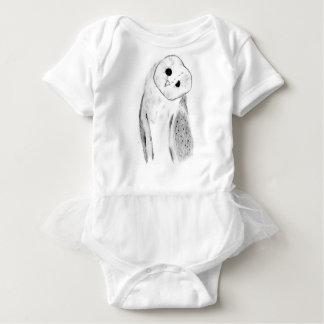 Unique Hand Drawn Barn Owl Baby Bodysuit