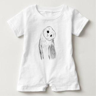 Unique Hand Drawn Barn Owl Baby Romper