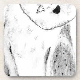 Unique Hand Drawn Barn Owl Coaster