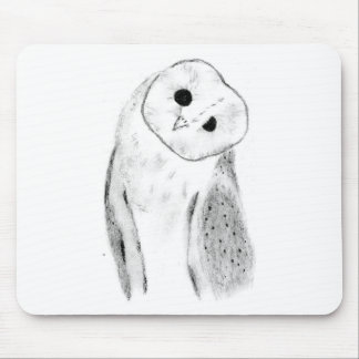 Unique Hand Drawn Barn Owl Mouse Pad