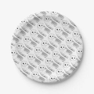 Unique Hand Drawn Barn Owl Paper Plate