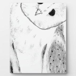 Unique Hand Drawn Barn Owl Plaque