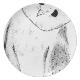 Unique Hand Drawn Barn Owl Plate