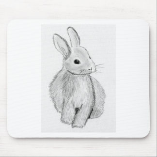 Unique Hand Drawn Bunny Mouse Pad