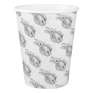 Unique Hand Drawn Bunny Paper Cup