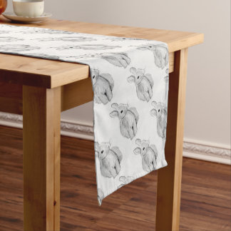 Unique Hand Drawn Bunny Short Table Runner