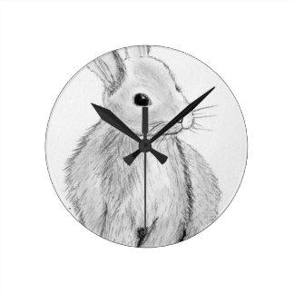 Unique Hand Drawn Bunny Wall Clock