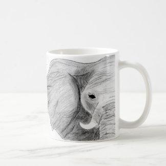 Unique Hand Drawn Charcoal Elephant on a Mug