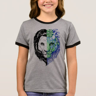 Unique Hand Drawn Mystic Lion Girl's Ringer Tee