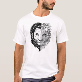 Unique Hand Drawn Mystic Lion Men's White T-shirt