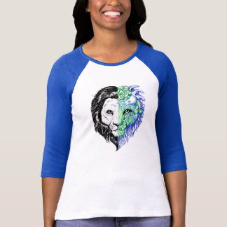 Unique Hand Drawn Mystic Lion Women's Baseball Tee