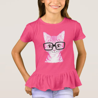 Unique Hand Drawn Nerdy Cat Art Girl's Ruffle Tee