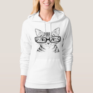 Unique Hand Drawn Nerdy Cat Art Women's Hoodie