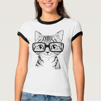 Unique Hand Drawn Nerdy Cat Art Women's Ringer Tee